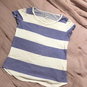 Girls Striped Short Sleeve Shirt - Size L (10-12)